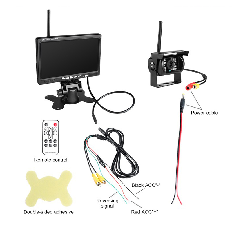 DC 24V Truck Bus reaper 2.4GHz Wireless Rear view rearview backup Camera with 7 Inch Car Monitors TFT LCD Colorful Monitor PZ607 7 inch hd car truck bus monitor 1024x600 hdmi interface tft lcd av vga rear view monitor dc 12v 24v