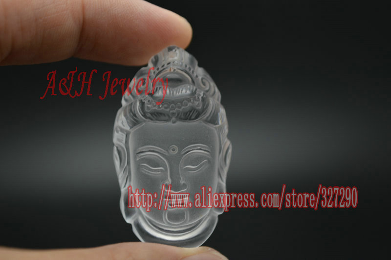 High Quality Natural Rock Crystal Stereoscopic Guanyin Head Fine Carved Healing Chakra Men and Women Lucky Jewelry 2pc/lot