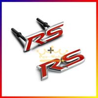 3D Red RS Logo Styling Symbol Metal Alloy Car Body Front Hood Grille Emblem Stickers For