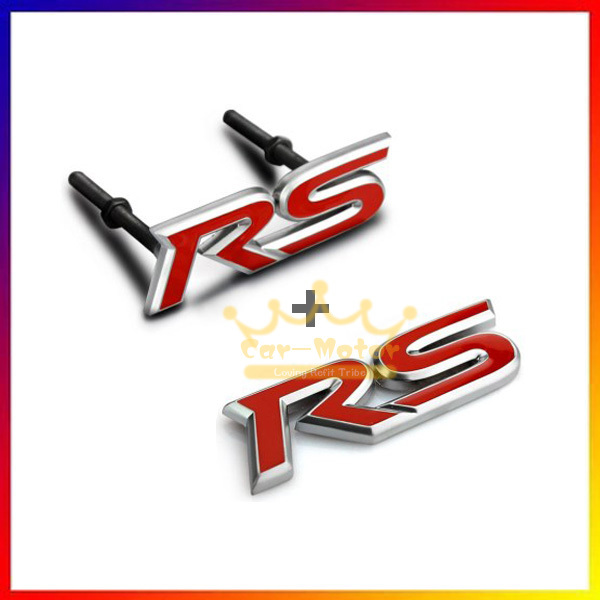 3D Red RS Logo Styling Symbol Metal Alloy Car Body & Front Hood Grille Emblem Stickers for Ford Audi Chevy Mitsubishi Universal grey red beige blue embroidery logo car seat cover front