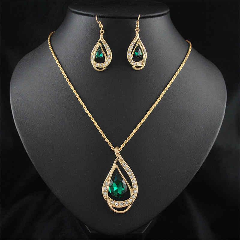 Wanita Fashion Liontin Kalung Anting-Anting Set Emas Berlian Imitasi Kristal Bridal Pernikahan Perhiasan Set untuk Wanita