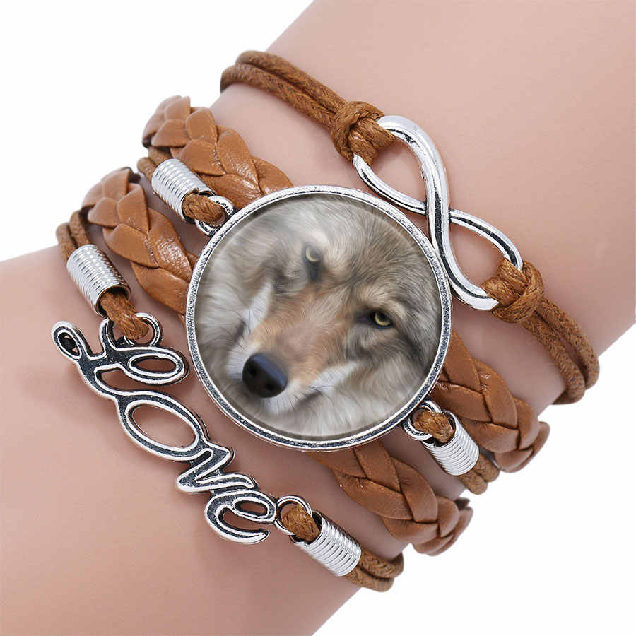 Popular Black Color Gothic Wolf Moon Glass Dome Charm Bracelet Bangle Jewelry Boy Men Handmade Sirius Accessories