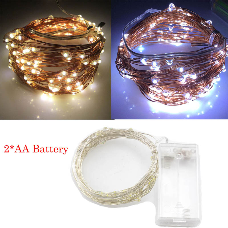 LED String Lights Home Christmas Tree Decoration 2XAA Battery For Wedding Outdoor Xmas Garland Party LED Strip Fairy Lights