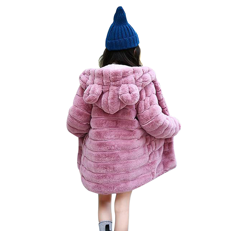 New Fashion Girls Winter Coat Thicken Warm Artificial Rabbit Faux Fur Baby Girls Jackets Hooded Outerwear Children Clothes XL240 winter kids rex rabbit fur coats children warm girls rabbit fur jackets fashion thick outerwear clothes