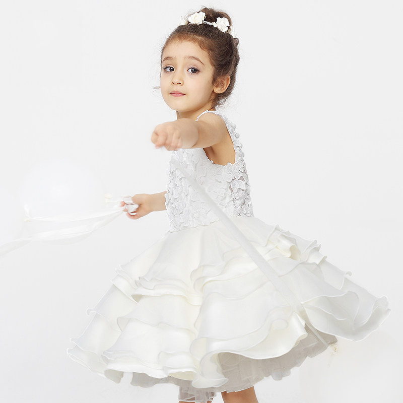 2016 New Arrival Flower Girls Dress Summer Princess Wedding Party Kids Costume Baby Girls Clothes High Quality Children Clothing high grade 2017 summer new baby girls party dress wedding clothes long tail 1 6 yrs girls flower dresses kids clothes retail