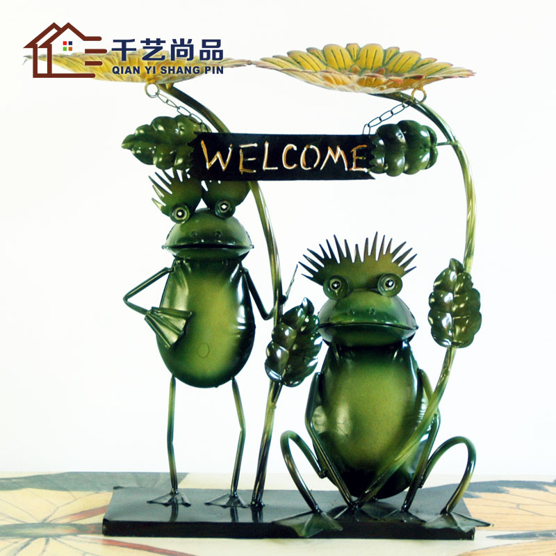 Green Garden Lucky Frog Living Room Decoration Decoration Bridal Couple  Iron Decorative Ornaments Home Furnishing Frog