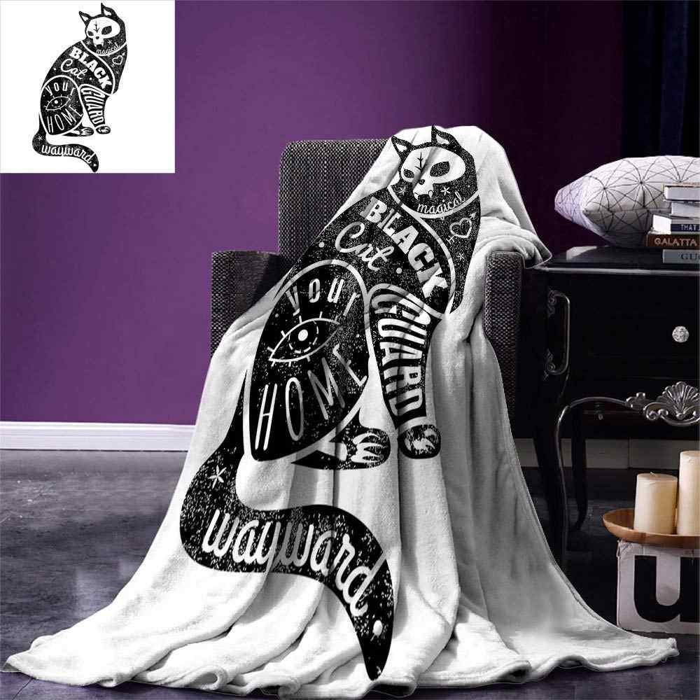 Modern Throw Blanket Black Fortune Magician Skull Cat Drawing with Part Magical Quote Artwork Image Warm Microfiber Blanket