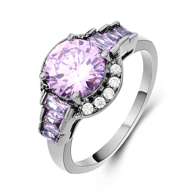 หรูหราสีม่วงรอบแหวนแฟชั่นสีดำเครื่องประดับ AAA Zircon แหวน Vintage แหวนอุปกรณ์เสริม
