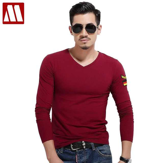 678a3db7862 Online Shop Free shipping solid color long sleeves T shirt men