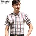 2016 Summer men's short sleeve shirts men Lattice printing casual shirt Slim Collar shirts Men Slim Plaid Shirts Male Plus Size