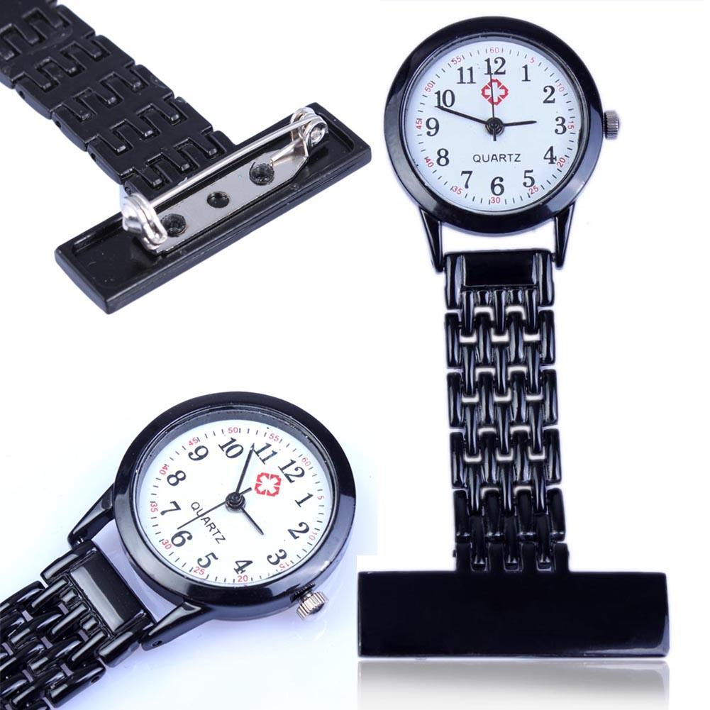 Vintage Silver Stainless Steel Nurses Pocket Quartz Fob Smiley Watch Glow in dark hands High Quanlity Luxury Watches