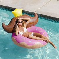 Inflatable Donut Pool Float Chair Swimming Ring Sunbathe Bed with Beard Beach Sea Water Party Fun Toys Inflatable Mattress