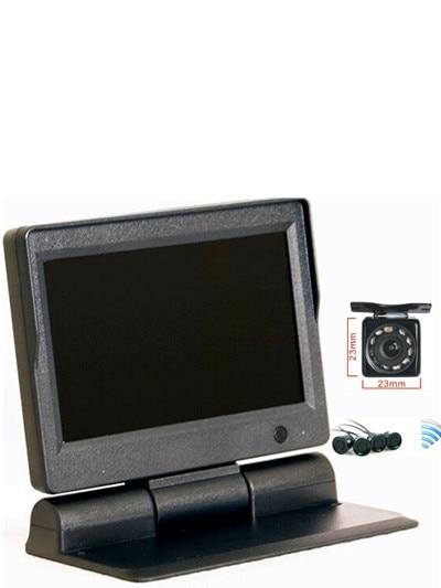 wireless parking radar 4 sensor parking wireless 5HD monitor 800*480 w 2CH video +HD front /back led camera +wireless parking
