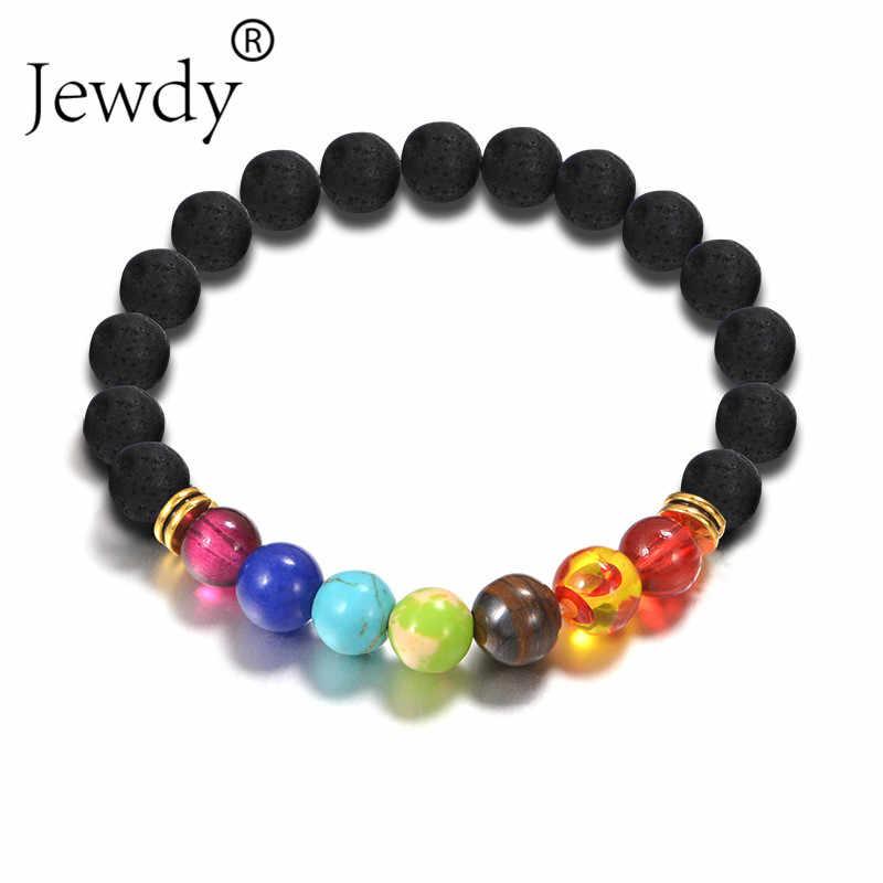Bijoux 7 Chakra Bracelets pierre naturelle perles de lave noire Bracelet femmes hommes équilibre Yoga bijoux pulseira feminina bouddha prière