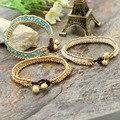 Bohemian Hand Knitting Women Bracelets Lace-up Beaded Glass Bracelets Three Layer Simple Bangle Female Fashion Jewelry 2016 New
