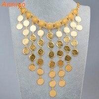 Anniyo 61 cm Moneda de Metal Grandes Collares para Las Mujeres, Monedas de Regalo de Boda de Lujo Árabe Islam/Oriente medio/Joyería africana Nuevo #075906