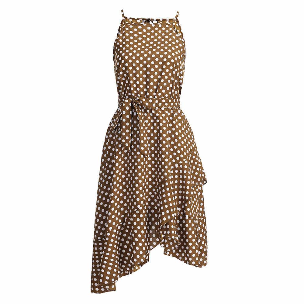 687be90c94 JAYCOSIN mujeres bohemio vestido largo verano playa productos básicos Polka  Dot imprimir detalles directa de alta