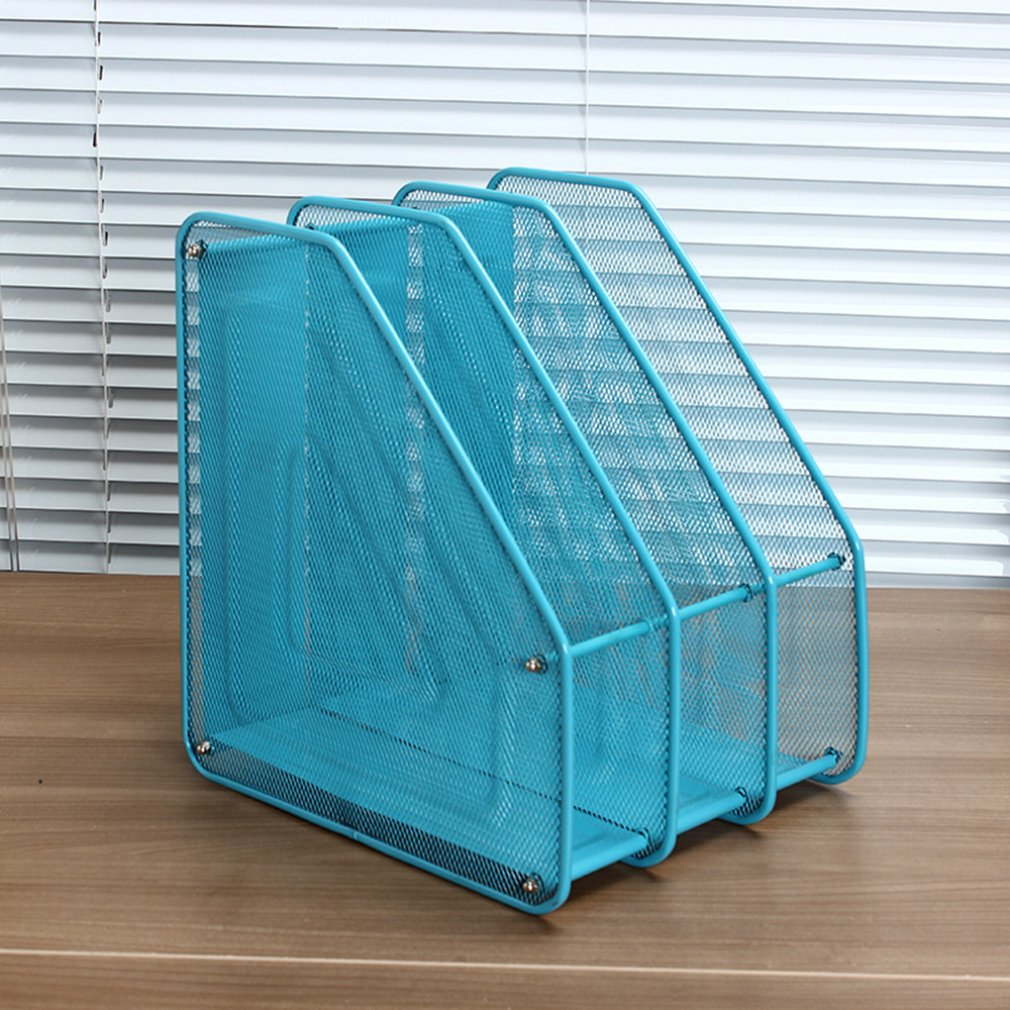 Office Organizer Supplies Metal Wire Mesh Triple File Holder Desk Organizer Office File Storage Rack Organizador Escritorio