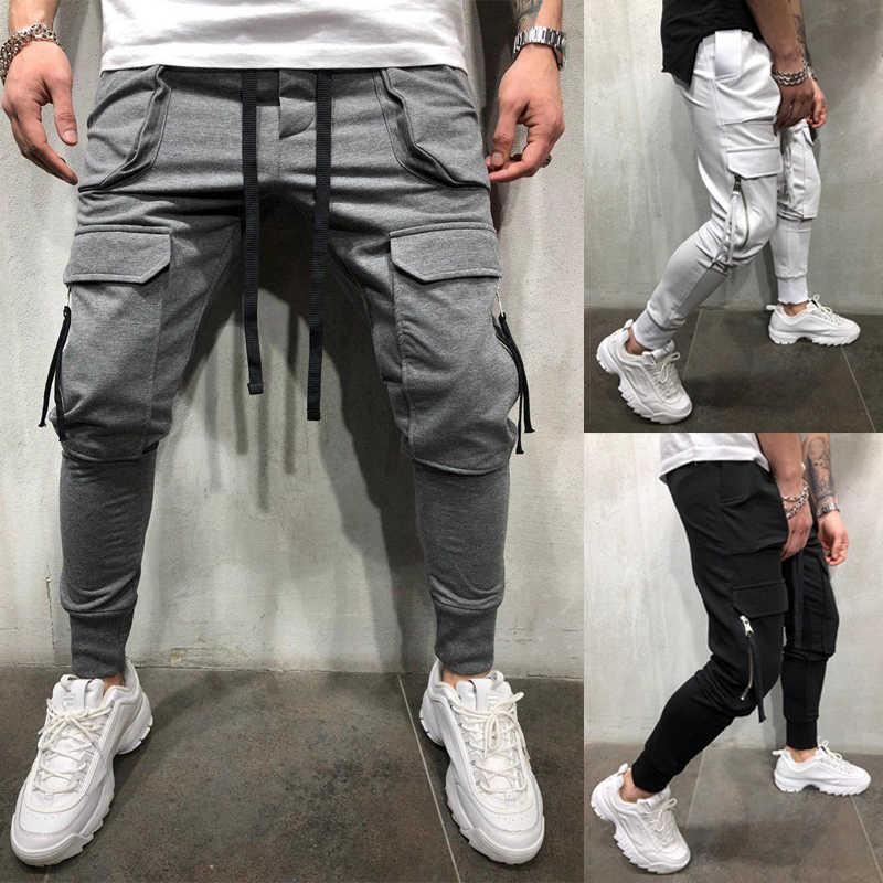2019 Hot mężczyźni na zamek błyskawiczny torba kieszonkowa spodnie na co dzień jogging hip hop modne spodnie