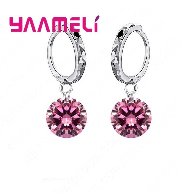 8 Colors Option Classic Girl Women Gift Jewelry 925 Sterling Silver and Shining 5A Cubic Zirconia Dangle Huggie Earrings