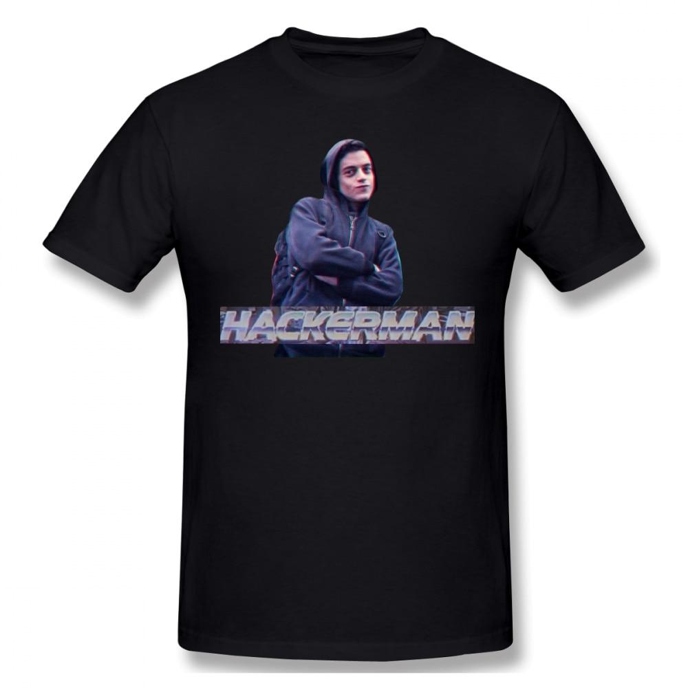 Hacker   T     Shirt   HACKERMAN Mr Robot   T  -  Shirt   100 Cotton Short Sleeve Tee   Shirt   XXX Cute Male Print Beach Tshirt