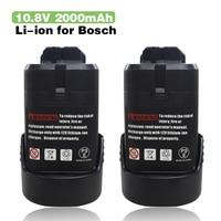 2X 10.8v 2.0Ah Li ion Power Tools Battery for Bosch BAT411 BAT412A BAT413A 2 607 336 333,2 607 336 014,Bosch GSB 10.8 2 LI