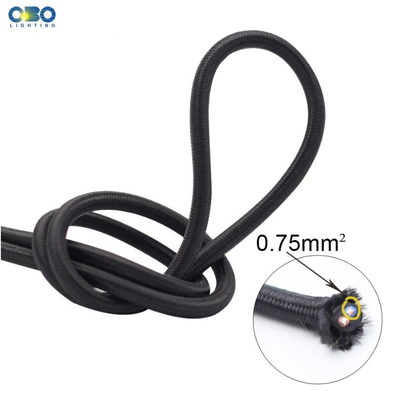 2*0,75 мм электрическая Проводная Подвесная лампа кабель витой текстильный верхний шнур Эдисона подвесной светильник провод 2 м/5 м/10 м несколь...