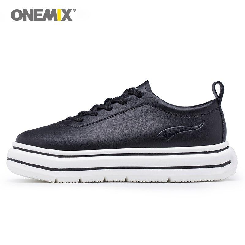 ONEMIX donne scarpe da ginnastica scarpe di cuoio altezza crescente suola in EVA micro tessuto di luce in pelle scarpe femminili per passeggiate all'aria aperta