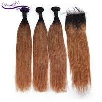 Бразильский пучки волос плетение с закрытием прямой Ombre коричневый натуральные волосы Связки с закрытием Remy T1B/30 4 шт. мечта красота