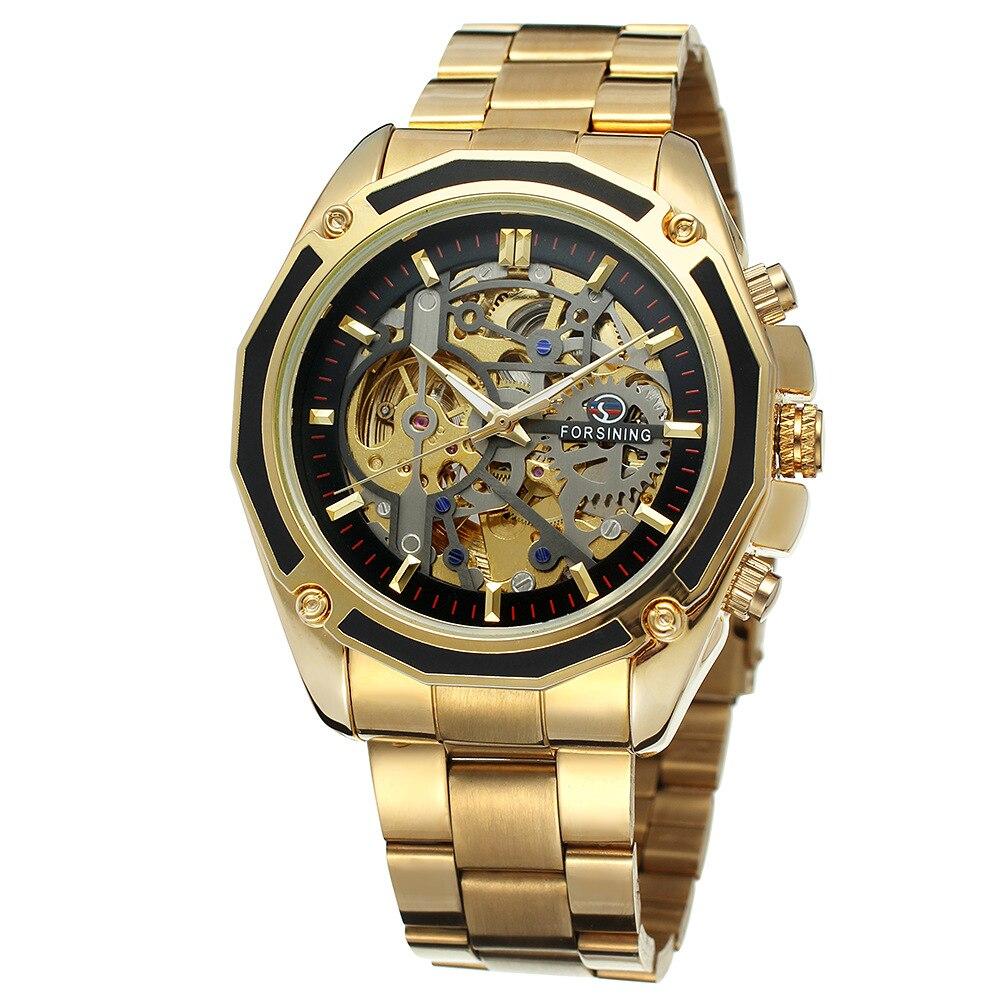 2018 Forsining Steampunk Gold Uhren Männer Automatische Mechanische Skeleton Uhr Männer Stahl Armbanduhr Männlichen Uhr Relogio Masculino