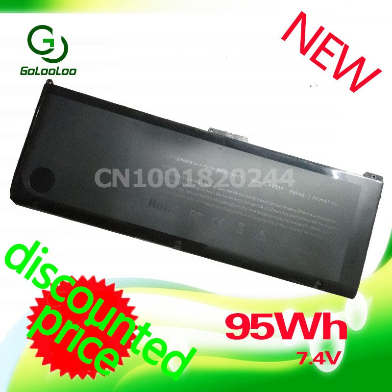 Golooloo 95Wh 7.4V Laptop Battery A1309 For Apple MacBook Pro 17 A1297(2009 Version) MC226 MC226ZP/A MC226TA/A MC226LL/A hsw laptop battery for apple a1297 macbook pro 2009 2010 not for 2011 model a1383 mb604ll a mc226ll a mc024ll a mc725ll a