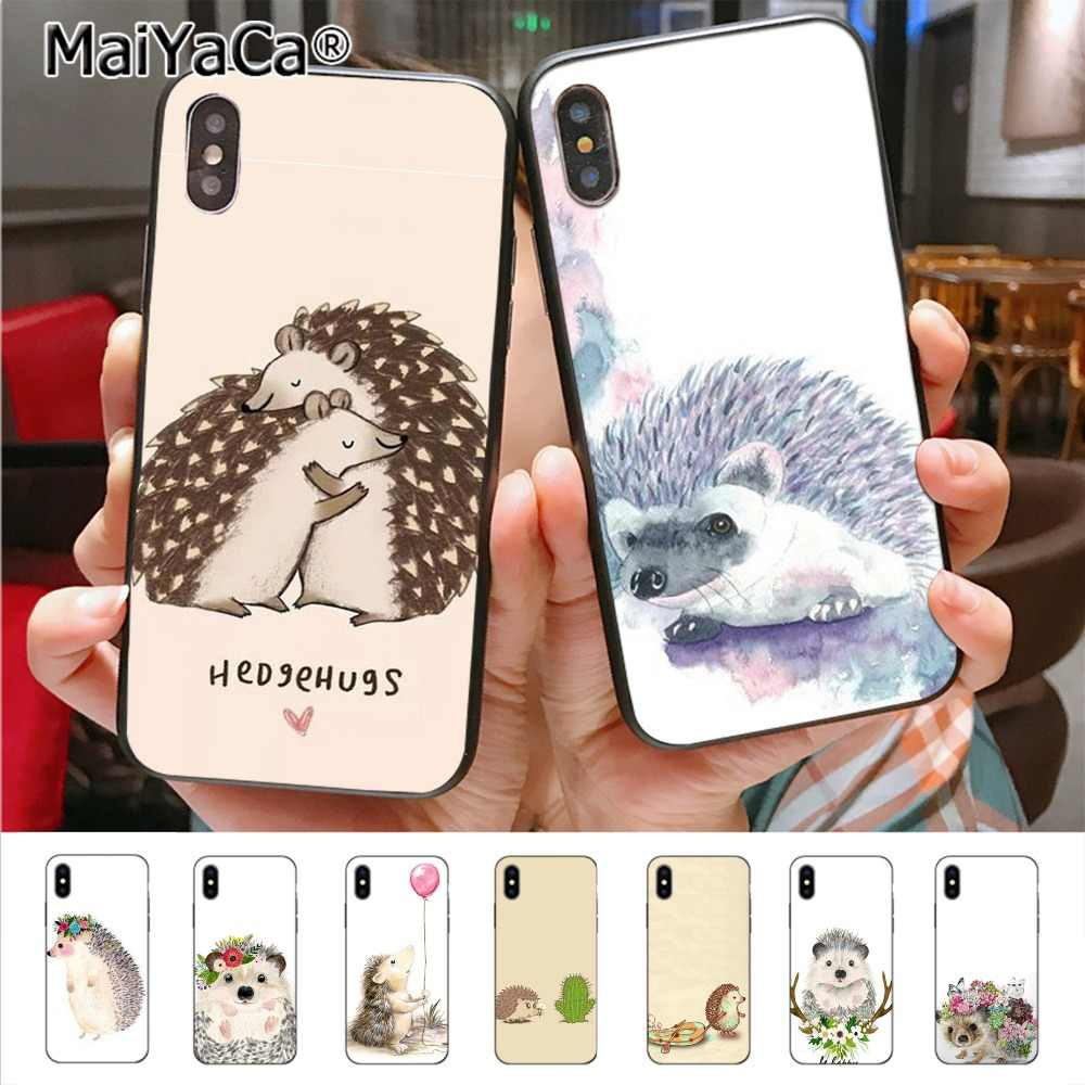MaiYaCa Tier niedlichen cartoon igel malerei Luxus Hybrid telefon fall für iPhone 8 7 6 6S Plus X XS XR XSMax 10 5 5S SE Coque