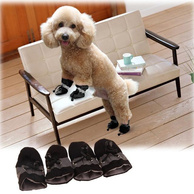 4pcs/set Pet Dog Shoes Rain Snow Waterproof Boots Cat Dogs Anti-slip Winter Warm Footwear Puppy Socks