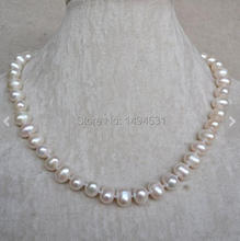 Wholesale Pearl Jewelry – White Color 18 Inches 9-10mm Genuine Freshwater Pearl Necklace , Wedding Bridesmaids Gift Jewelry