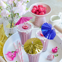Aluminum film Cocktail decorative Garnishes umbrella bamboo stick form snack cakes fruit sign Disposable Bar accessory