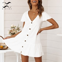 Bikinx V ausschnitt tasten bikini cover up kurzarm weiß strand kleid frauen tunika Sexy badeanzug cover up mode strand tragen 2019