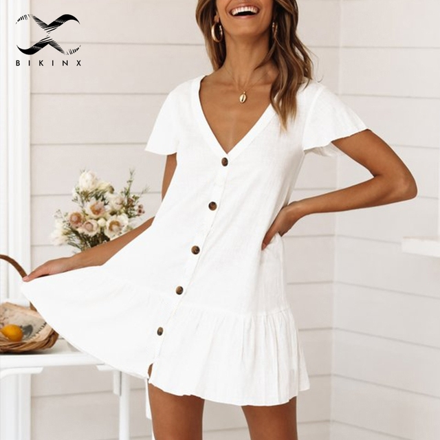 Bikinx V neck buttons bikini cover up Short sleeve white beach dress women tunic Sexy swimsuit cover up fashion beach wear 2019