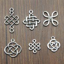 20 pçs / lote pingente de nó chinês pingente cor de prata antigo nó chinês joias da sorte joias faça você mesmo pingentes chineses