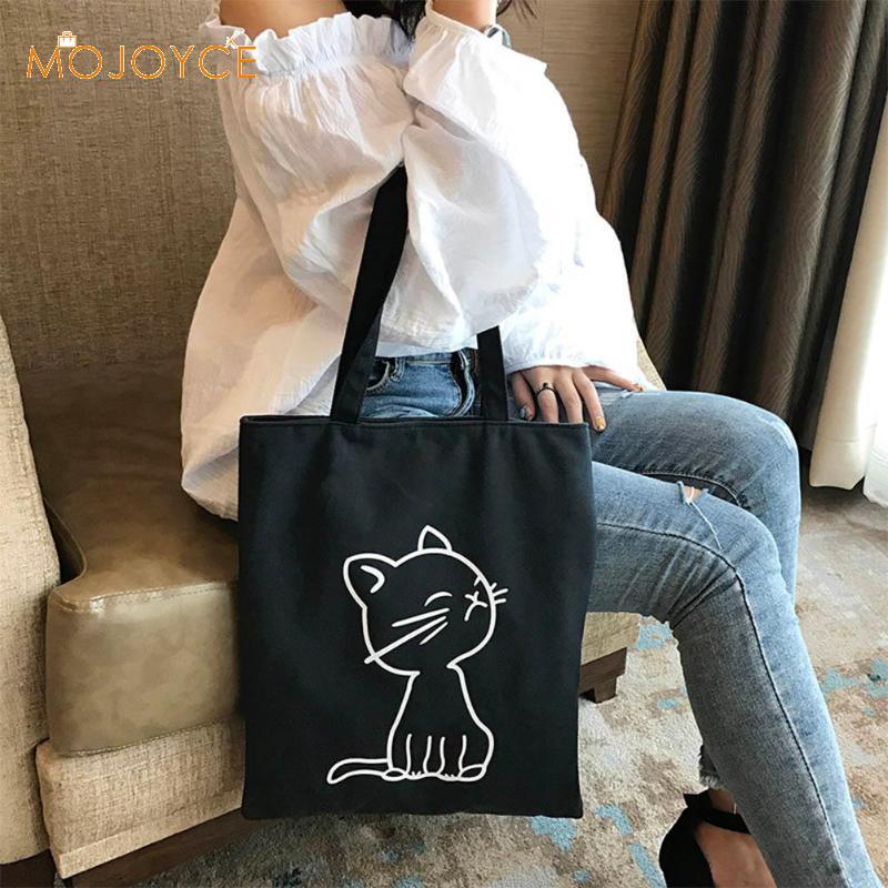 Cute Duck Printed Women Handbag Canvas Shoulder Bag Girls Zipper Shopping Bag Casual Travel Handbag Large Capacity Totes Women