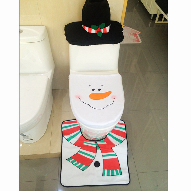 4PCS Set Fancy Snowman Toilet Seat Cover And Rug Bathroom Christmas Decor With A Cute