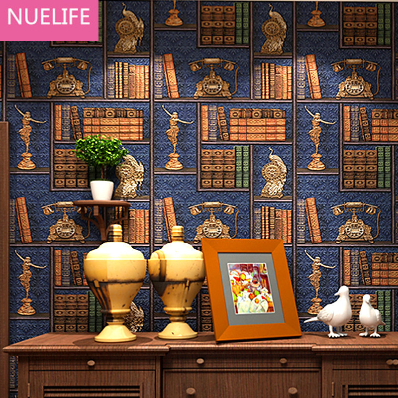 053x10m 3D American Style Retro Bookshelf Pattern Wallpaper Library Study Room Cafe Classroom Living