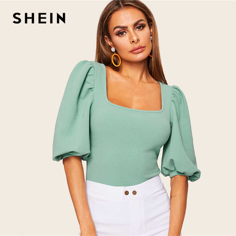 SHEIN Turquoise Puff Sleeve Solid Fitted Square Neck Tee T Shirt Women Summer 2019 Half Sleeve Elegant Workwear T-shirt Tops