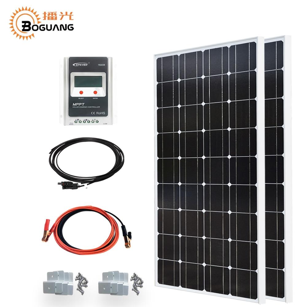 Boguang 200 W Sistema solar kit 100 W panel solar EPsolar 20A controlador MPPT MC4 conector de cable Y-tipo de adaptador 12 V/24 V de la batería