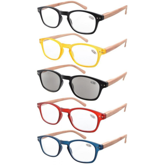 Eyekepper R034 5 pack الربيع المفصلي الأسلحة الخشب الحبوب المطبوعة القراءة نظارات الشمس القراء + 0.50     4.00