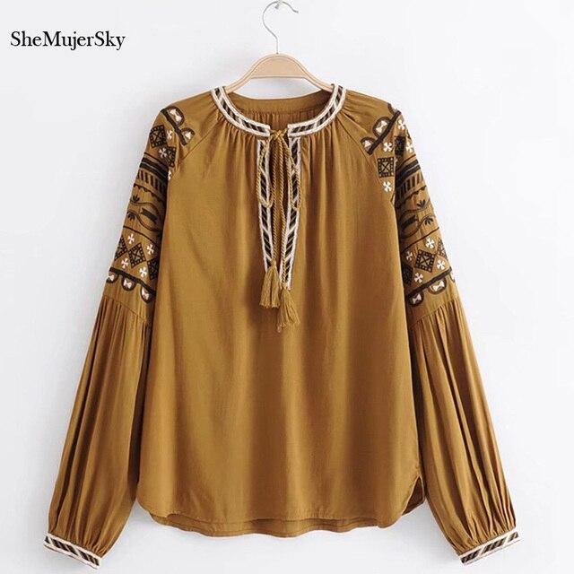 Shemujersky Бохо блузка Для женщин 2018 Вышивка в богемном стиле рубашка с длинным рукавом Blusa Для женщин S Топы корректирующие и Блузки для малышек