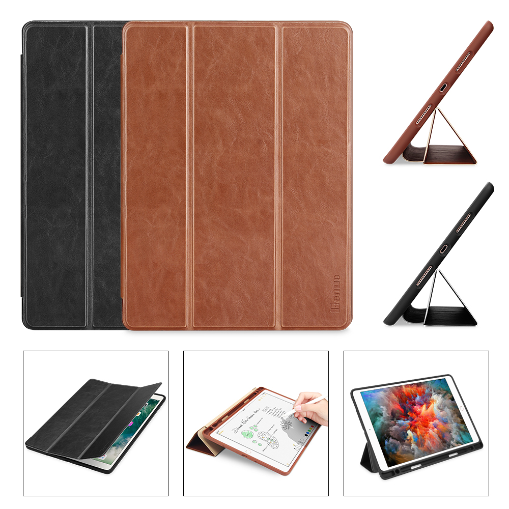 Benuo For iPad Pro 10.5 Case PU Leather Slim Smart Cover With Pencil Holder Auto Sleep/Wake For Apple iPad Pro 10.5 A1701 A1709 ultra slim smart cover protective trid fold stand leather case w pencil holder for apple ipad pro 10 5 inch a1701 a1709 tablet