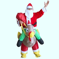 2017 New Christmas Day Cosplay Costumes for Santa Claus with Turkey Free with Inflatable Fans Blow Up Suits Christmas Gift