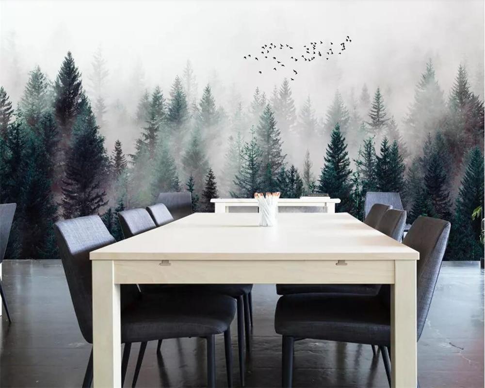 Купить с кэшбэком Beibehang Custom wallpaper Modern Fresh Fog Forest Clouds Flying Bird Nordic TV backdrop 3d Living room Bedroom 3d wallpaper