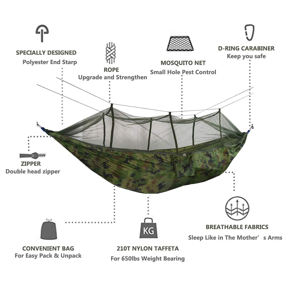 Drop-Shipping 1-2 Person Outdoor Mosquito Net Parachute Nylon Hammock Camping Hanging Sleeping Bed Swing Portable Double Hammock