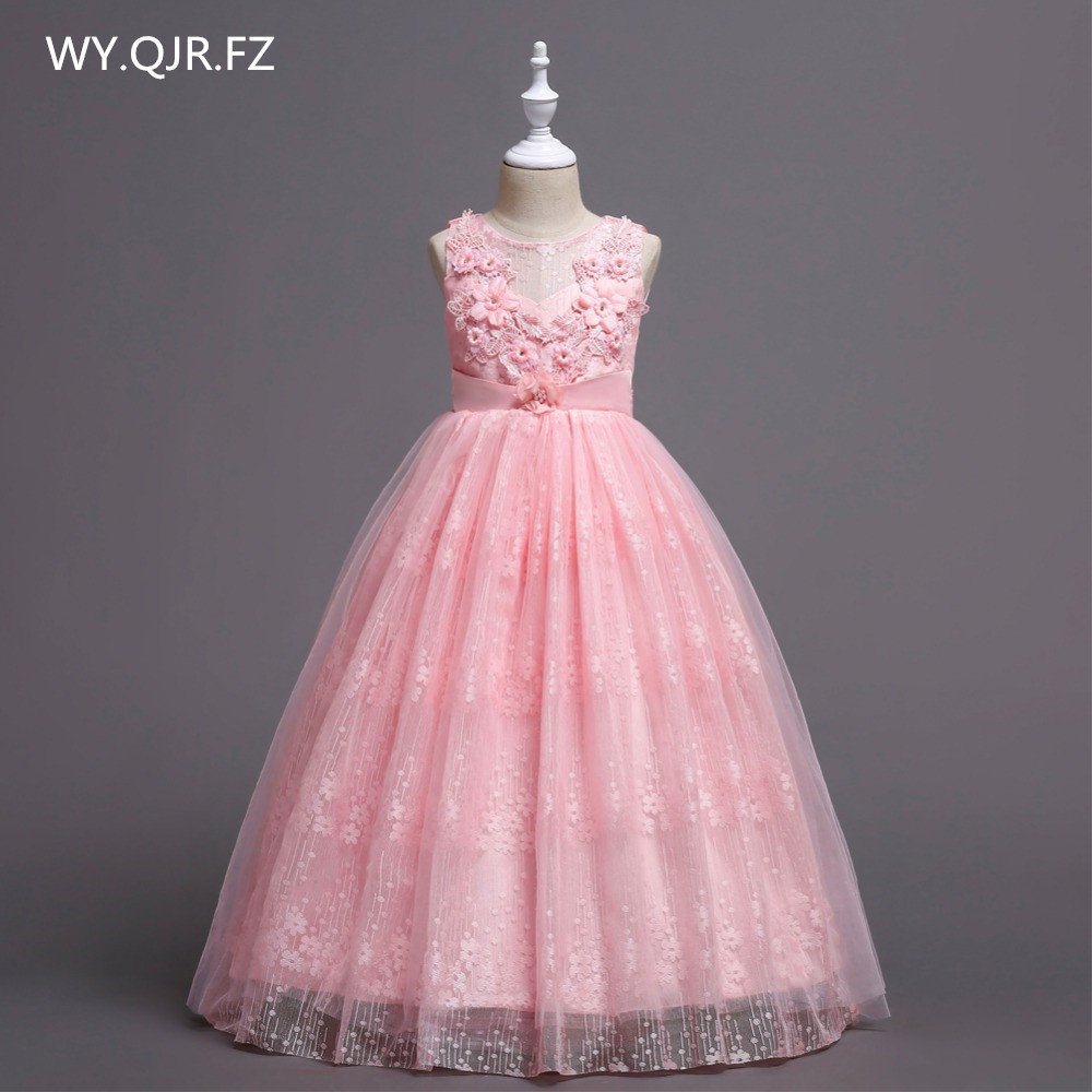 BH831#Ping Princess   Flower     Girl     dresses   medium large size lace wedding party prom ball gown long   dress   2018 Children's clothes